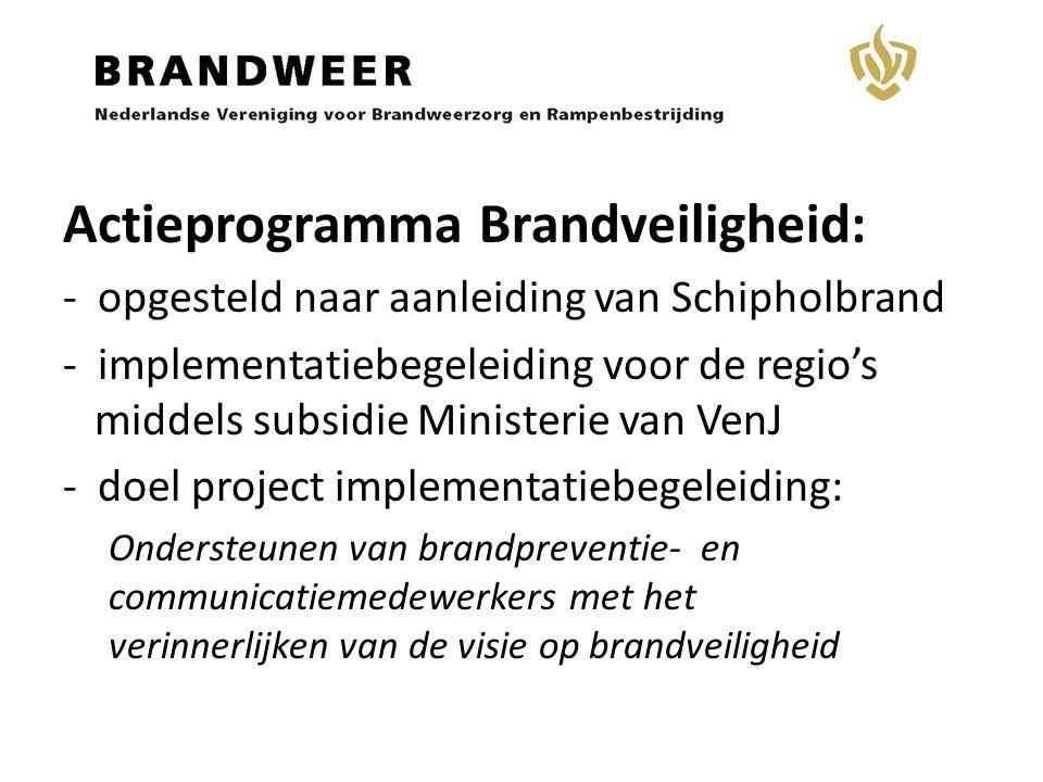 Actieprogramma Brandveiligheid: - opgesteld naar aanleiding van Schipholbrand - implementatiebegeleiding voor de regio's middels subsidie Ministerie v