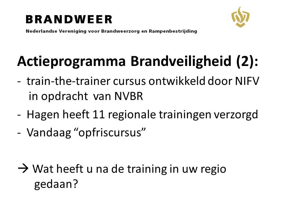 Actieprogramma Brandveiligheid (2): - train-the-trainer cursus ontwikkeld door NIFV in opdracht van NVBR - Hagen heeft 11 regionale trainingen verzorg