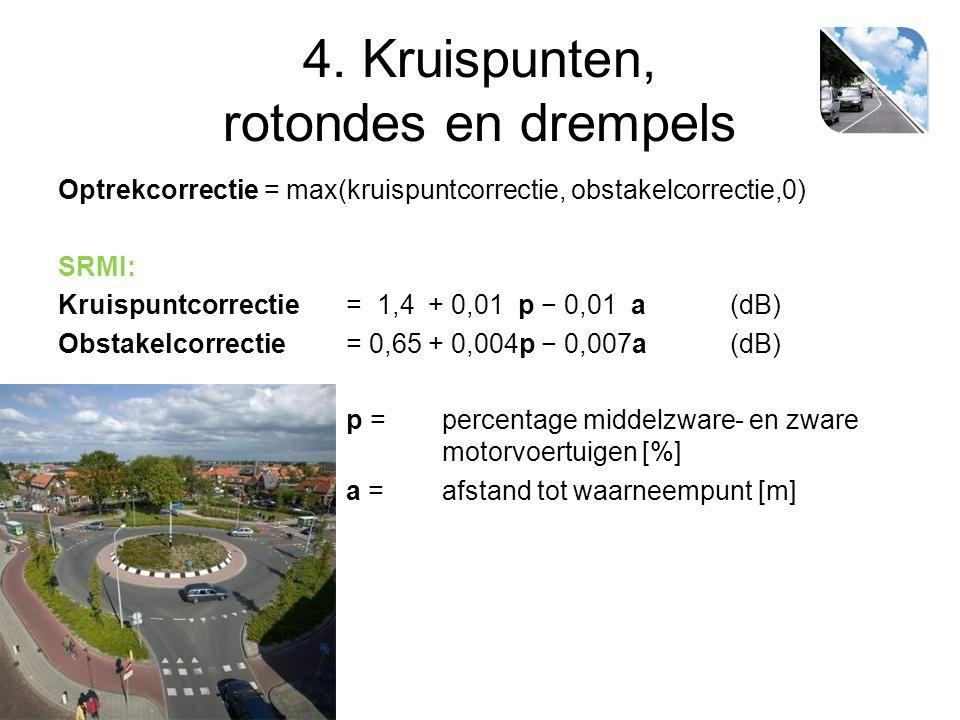 4. Kruispunten, rotondes en drempels Optrekcorrectie = max(kruispuntcorrectie, obstakelcorrectie,0) SRMI: Kruispuntcorrectie = 1,4 + 0,01 p − 0,01 a(d
