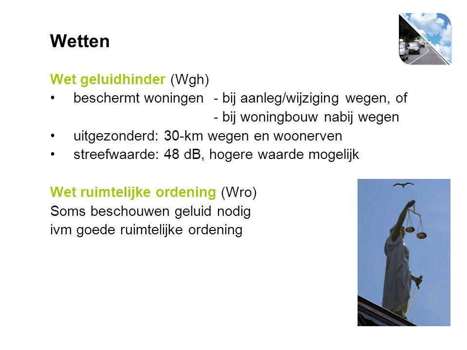Wetten Wet geluidhinder (Wgh) beschermt woningen- bij aanleg/wijziging wegen, of - bij woningbouw nabij wegen uitgezonderd: 30-km wegen en woonerven s