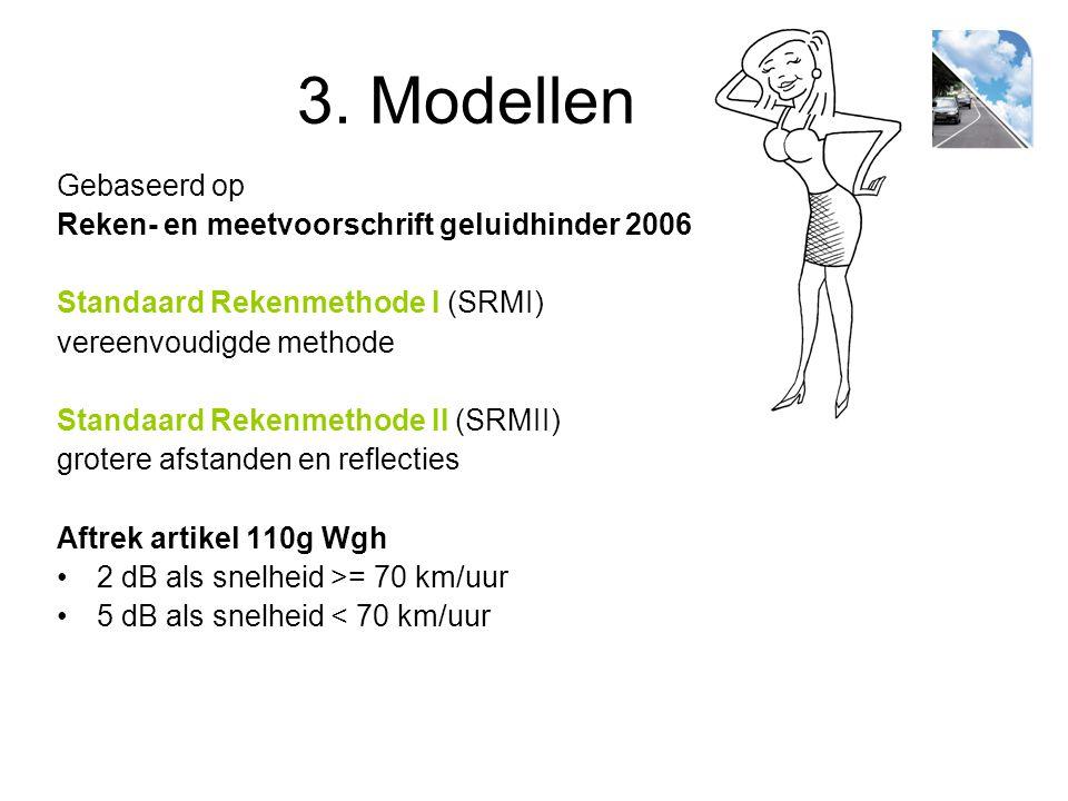 3. Modellen Gebaseerd op Reken- en meetvoorschrift geluidhinder 2006 Standaard Rekenmethode I (SRMI) vereenvoudigde methode Standaard Rekenmethode II