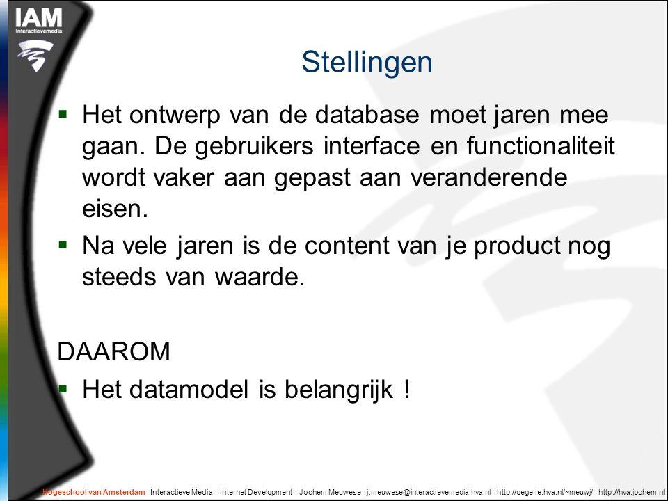 Hogeschool van Amsterdam - Interactieve Media – Internet Development – Jochem Meuwese - j.meuwese@interactievemedia.hva.nl - http://oege.ie.hva.nl/~meuwj/ - http://hva.jochem.nl DOEN: opdracht Groepjes van 4-5 personen: Maak een opzet voor de cursus: 'SQL en database-ontwerp' -Onderwerpen, kennis, vaardigheden -Lesprogramma -Opdracht(en) -Criteria NB -Kies voor beginners of voor gevordenden -Put uit je kennis van php, mySQL en 'informatie structuren'