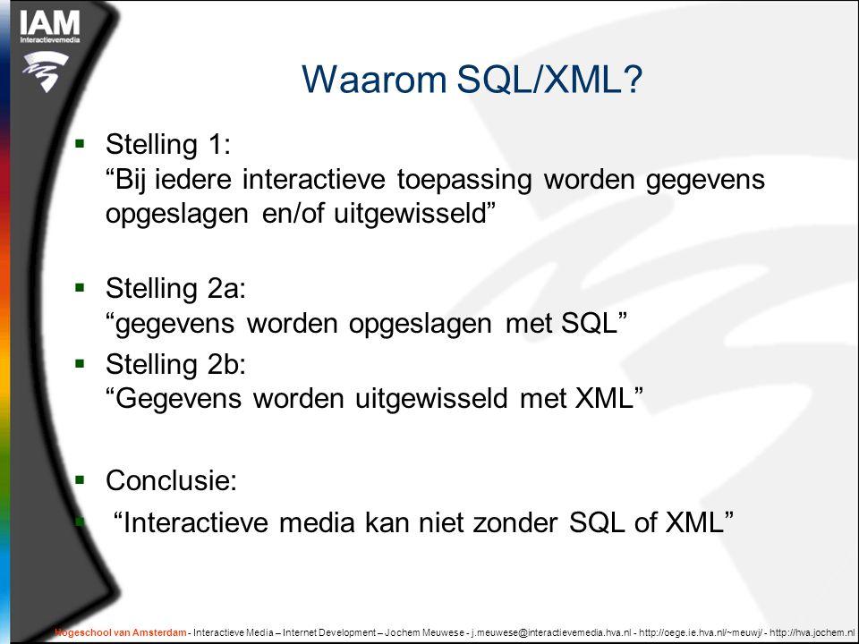 Hogeschool van Amsterdam - Interactieve Media – Internet Development – Jochem Meuwese - j.meuwese@interactievemedia.hva.nl - http://oege.ie.hva.nl/~meuwj/ - http://hva.jochem.nl Twee anekdotes  NUFFIC  'database' bestaande uit 10 verschillende excel- sheets en andere slecht gestructureerde documenten.