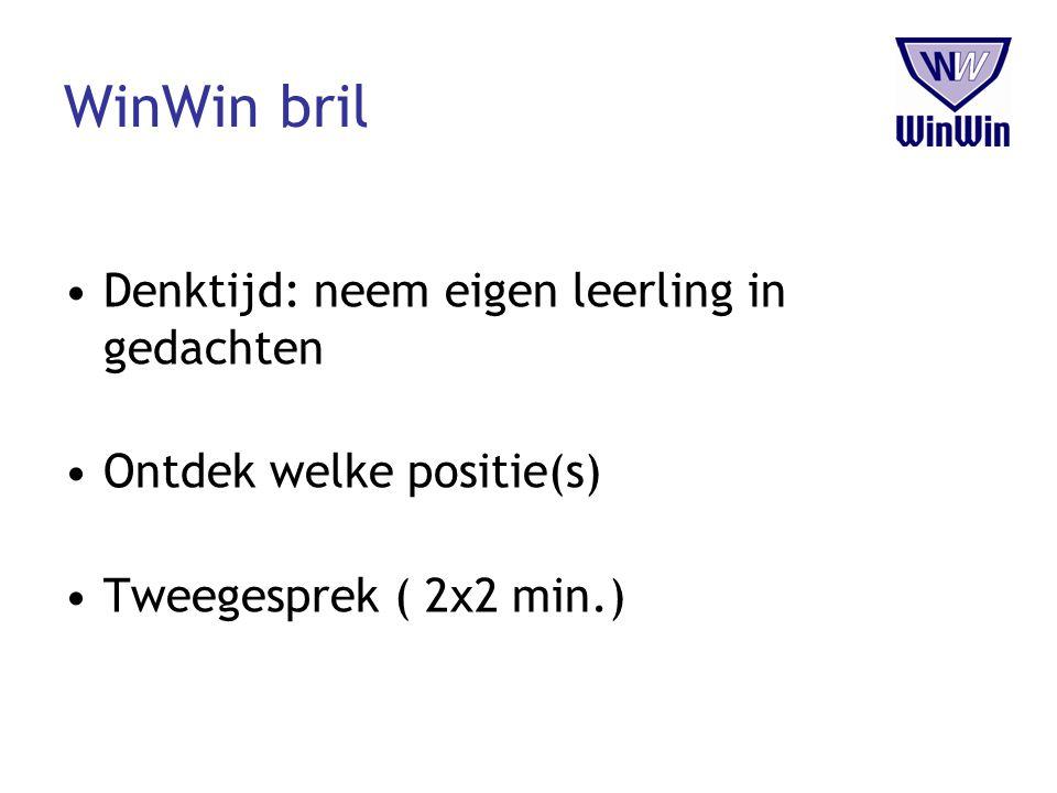 WinWin bril Denktijd: neem eigen leerling in gedachten Ontdek welke positie(s) Tweegesprek ( 2x2 min.)