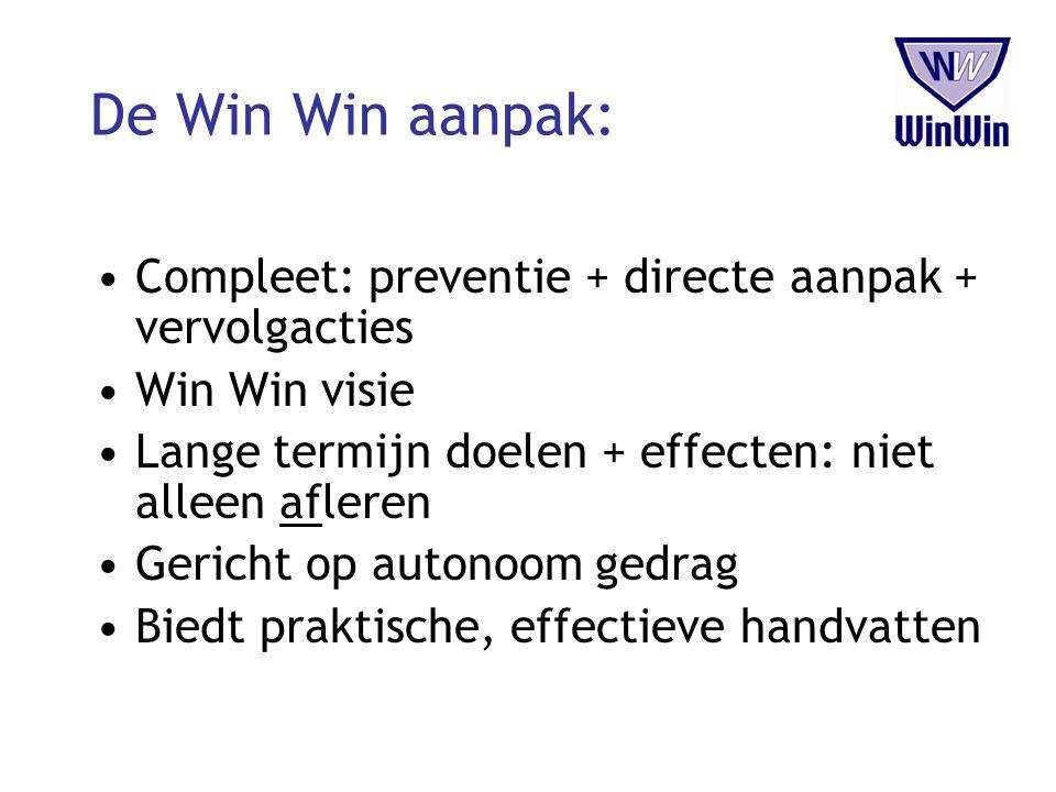 De Win Win aanpak: Compleet: preventie + directe aanpak + vervolgacties Win Win visie Lange termijn doelen + effecten: niet alleen afleren Gericht op