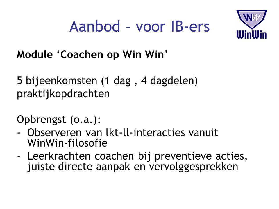 Aanbod – voor IB-ers Module 'Coachen op Win Win' 5 bijeenkomsten (1 dag, 4 dagdelen) praktijkopdrachten Opbrengst (o.a.): -Observeren van lkt-ll-inter