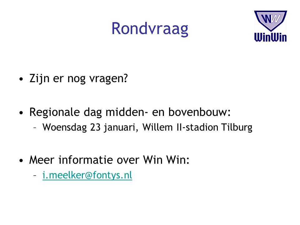 Rondvraag Zijn er nog vragen? Regionale dag midden- en bovenbouw: –Woensdag 23 januari, Willem II-stadion Tilburg Meer informatie over Win Win: –i.mee