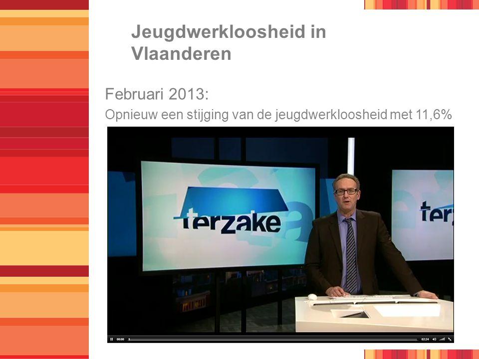 Jeugdwerkloosheid in Vlaanderen Februari 2013: Opnieuw een stijging van de jeugdwerkloosheid met 11,6%