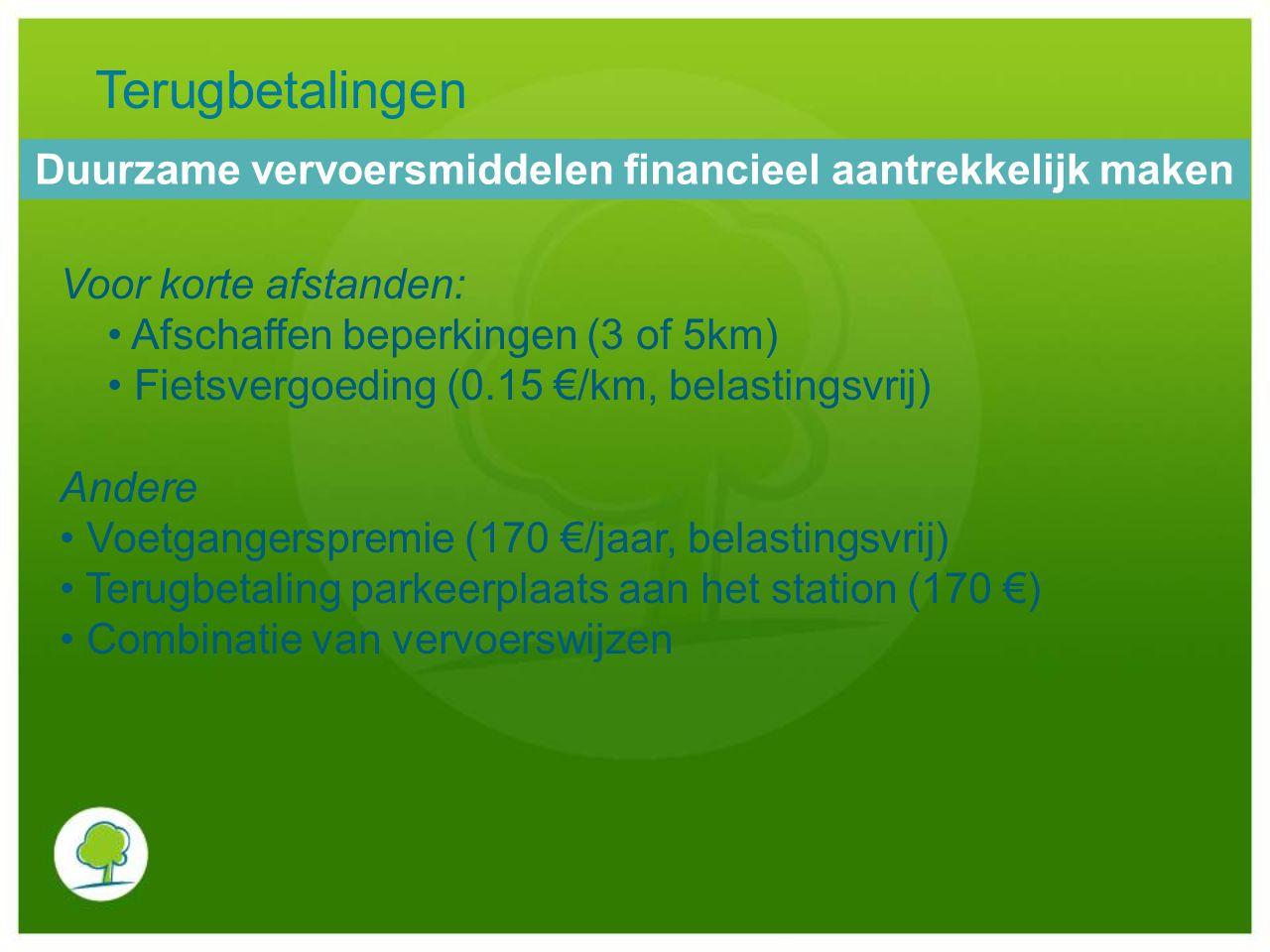 Voor korte afstanden: Afschaffen beperkingen (3 of 5km) Fietsvergoeding (0.15 €/km, belastingsvrij) Andere Voetgangerspremie (170 €/jaar, belastingsvr