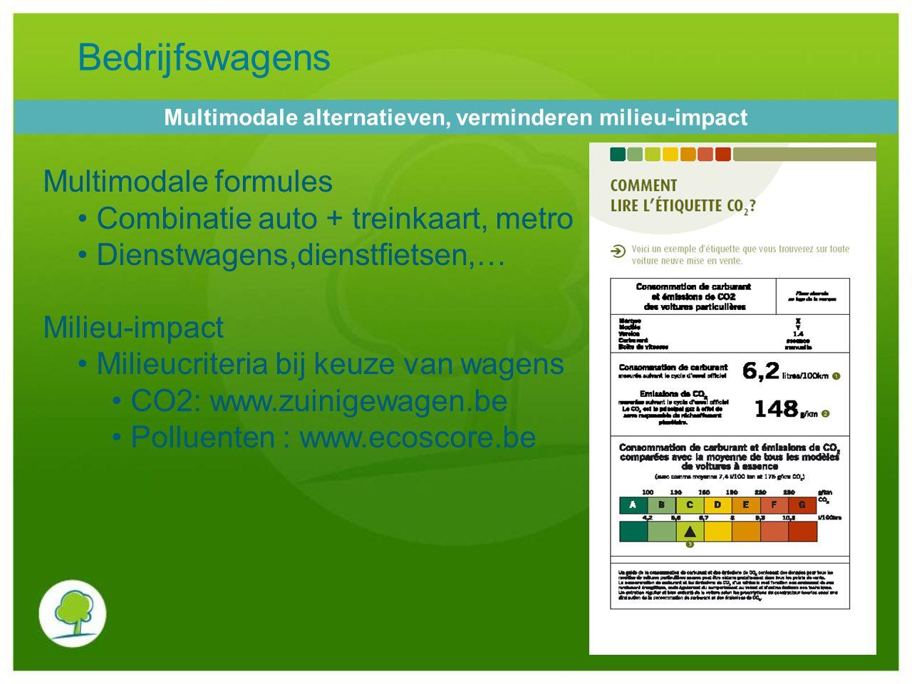 Bedrijfswagens Multimodale formules Combinatie auto + treinkaart, metro Dienstwagens,dienstfietsen,… Milieu-impact Milieucriteria bij keuze van wagens