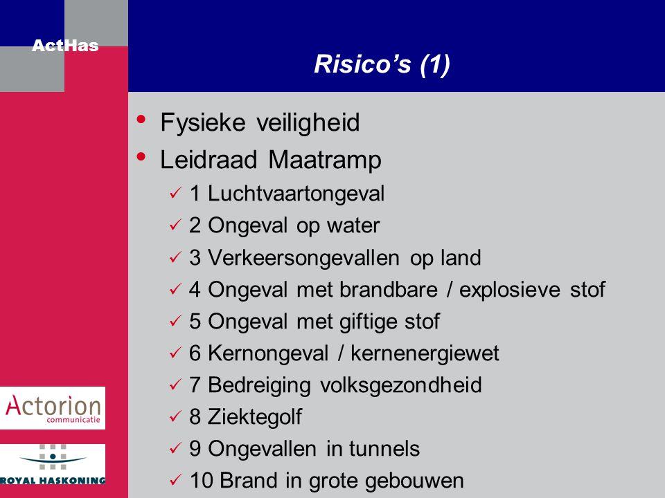 ActHas Risico's (1) Fysieke veiligheid Leidraad Maatramp 1 Luchtvaartongeval 2 Ongeval op water 3 Verkeersongevallen op land 4 Ongeval met brandbare /