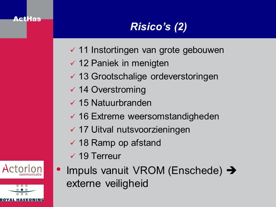ActHas Risico's (2) 11 Instortingen van grote gebouwen 12 Paniek in menigten 13 Grootschalige ordeverstoringen 14 Overstroming 15 Natuurbranden 16 Ext