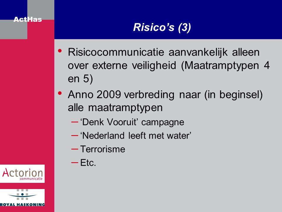 ActHas Risico's (3) Risicocommunicatie aanvankelijk alleen over externe veiligheid (Maatramptypen 4 en 5) Anno 2009 verbreding naar (in beginsel) alle