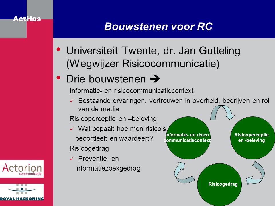 ActHas Bouwstenen voor RC Universiteit Twente, dr. Jan Gutteling (Wegwijzer Risicocommunicatie) Drie bouwstenen  Informatie- en risicocommunicatiecon