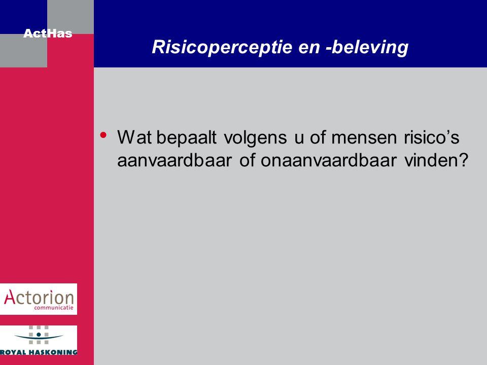 ActHas Risicoperceptie en -beleving Wat bepaalt volgens u of mensen risico's aanvaardbaar of onaanvaardbaar vinden?