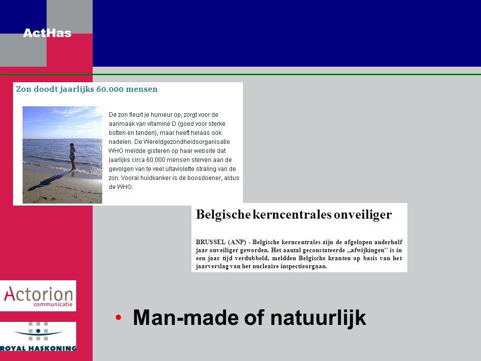 ActHas Man-made of natuurlijk Belgische kerncentrales onveiliger BRUSSEL (ANP) - Belgische kerncentrales zijn de afgelopen anderhalf jaar onveiliger g