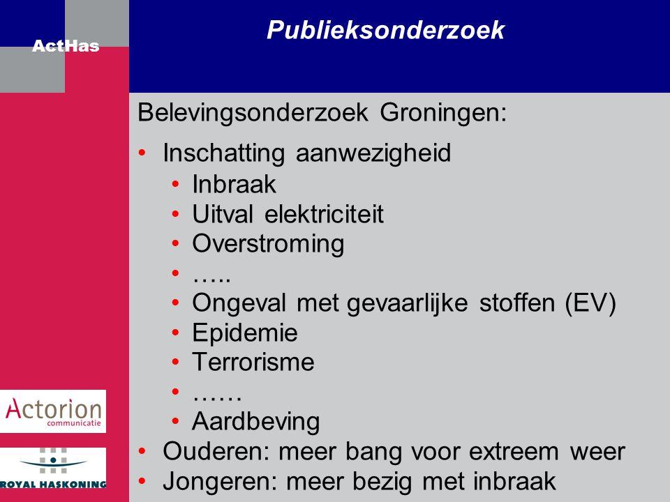 ActHas Publieksonderzoek Belevingsonderzoek Groningen: Inschatting aanwezigheid Inbraak Uitval elektriciteit Overstroming ….. Ongeval met gevaarlijke