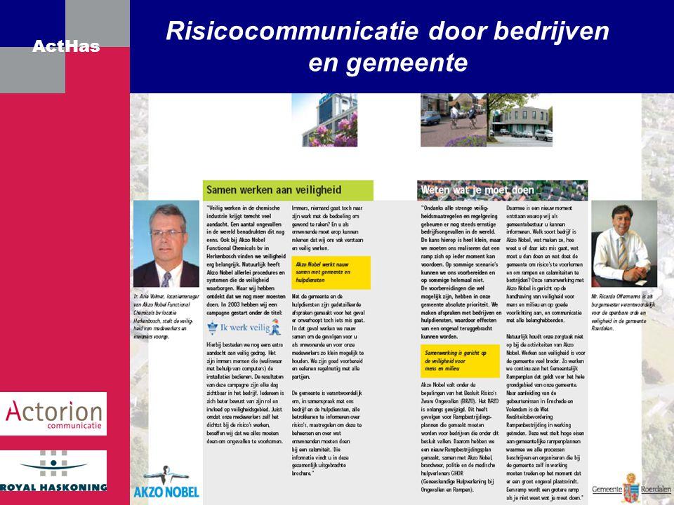 ActHas Risicocommunicatie door bedrijven en gemeente