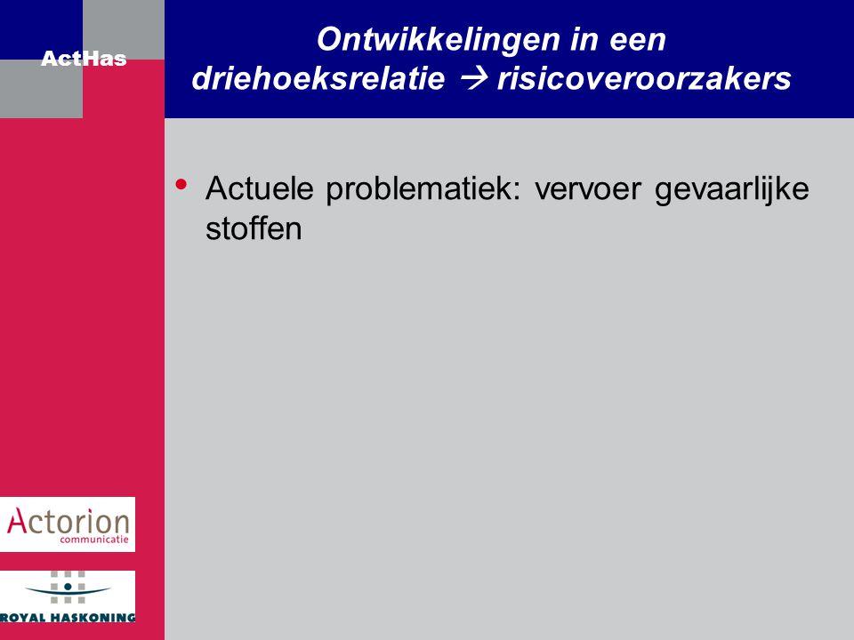 ActHas Actuele problematiek: vervoer gevaarlijke stoffen Ontwikkelingen in een driehoeksrelatie  risicoveroorzakers