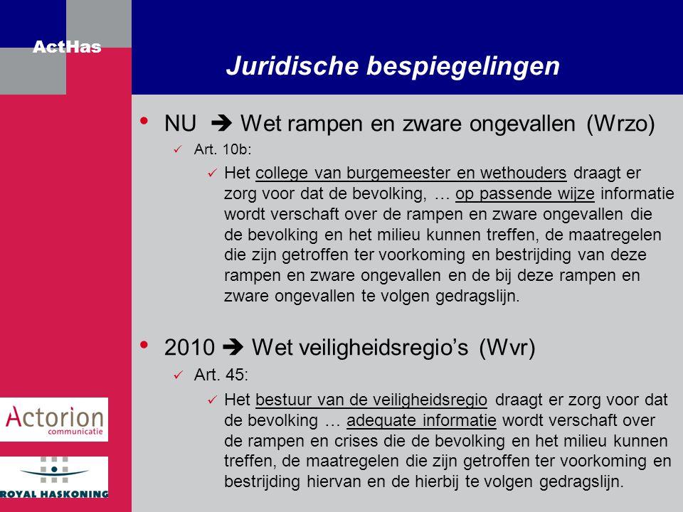 ActHas Juridische bespiegelingen NU  Wet rampen en zware ongevallen (Wrzo) Art. 10b: Het college van burgemeester en wethouders draagt er zorg voor d