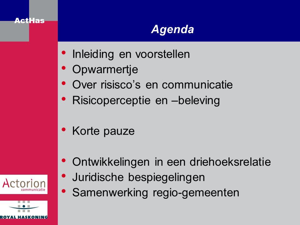 ActHas Agenda Inleiding en voorstellen Opwarmertje Over risisco's en communicatie Risicoperceptie en –beleving Korte pauze Ontwikkelingen in een drieh