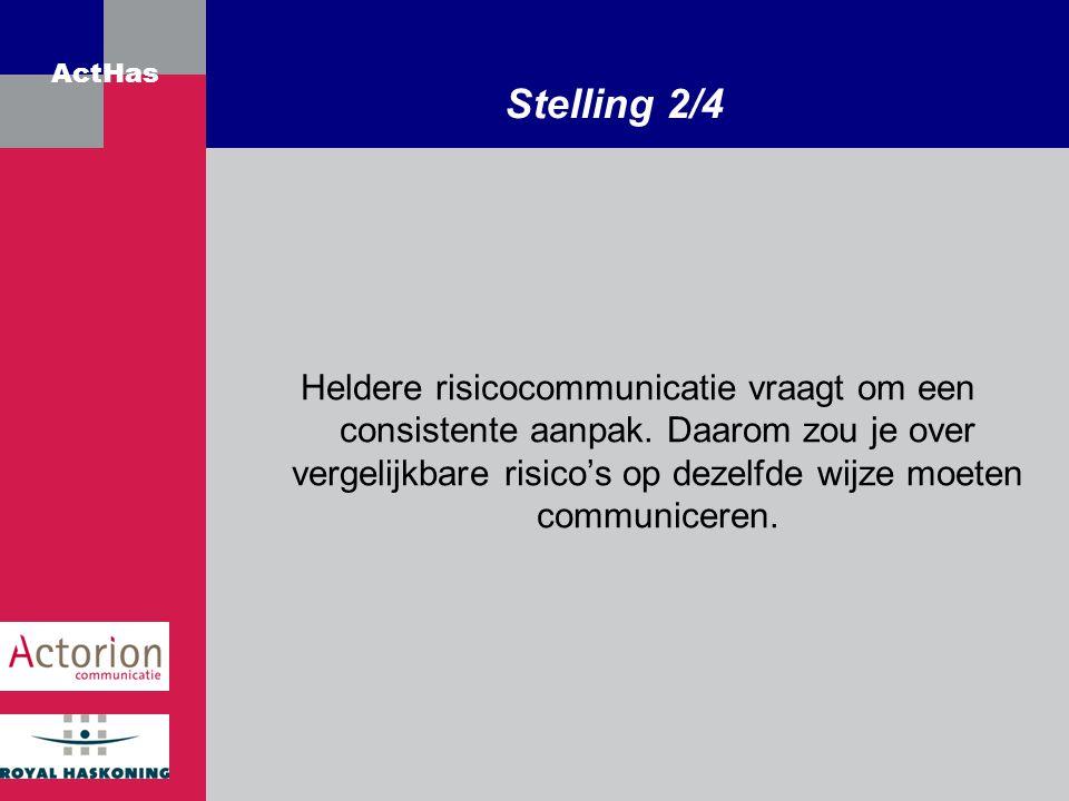ActHas Stelling 2/4 Heldere risicocommunicatie vraagt om een consistente aanpak. Daarom zou je over vergelijkbare risico's op dezelfde wijze moeten co
