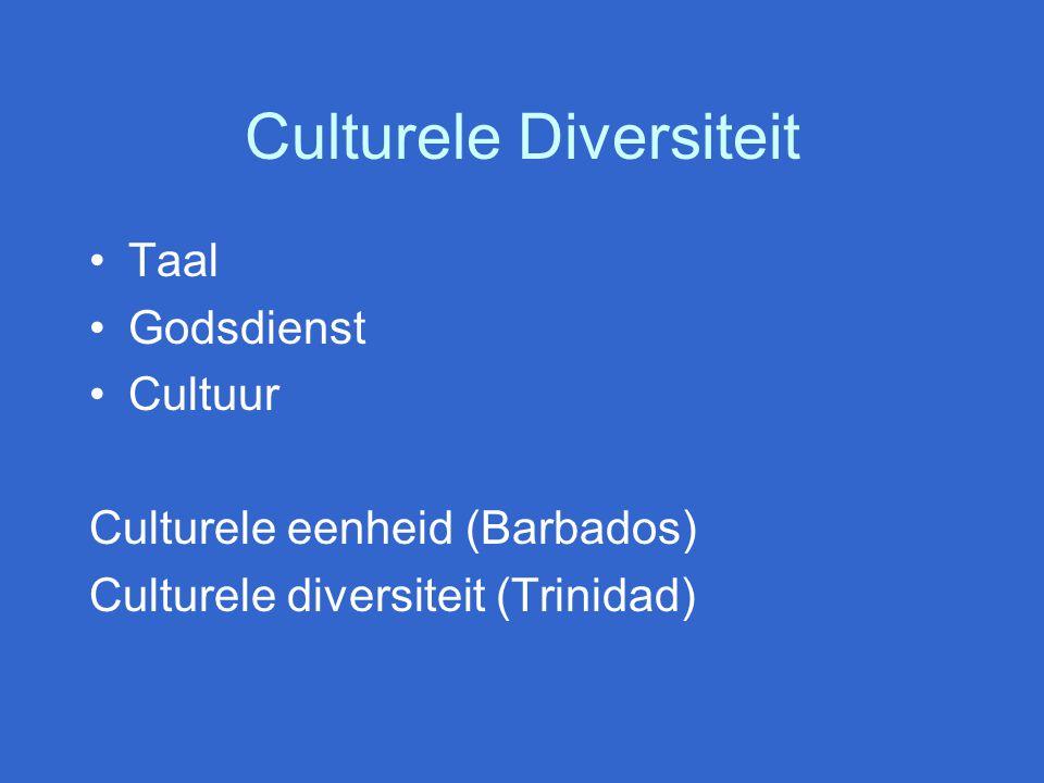 Culturele Diversiteit Taal Godsdienst Cultuur Culturele eenheid (Barbados) Culturele diversiteit (Trinidad)