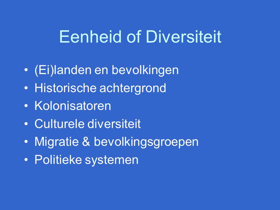 Eenheid of Diversiteit (Ei)landen en bevolkingen Historische achtergrond Kolonisatoren Culturele diversiteit Migratie & bevolkingsgroepen Politieke systemen