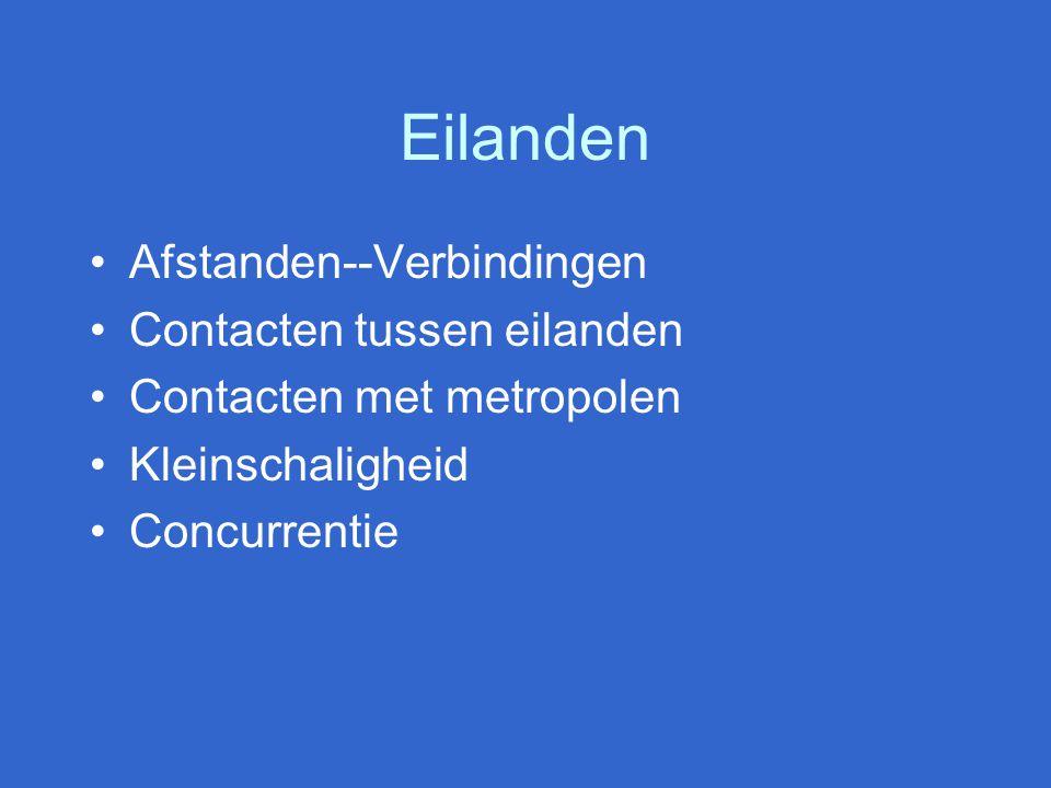 Eilanden Afstanden--Verbindingen Contacten tussen eilanden Contacten met metropolen Kleinschaligheid Concurrentie