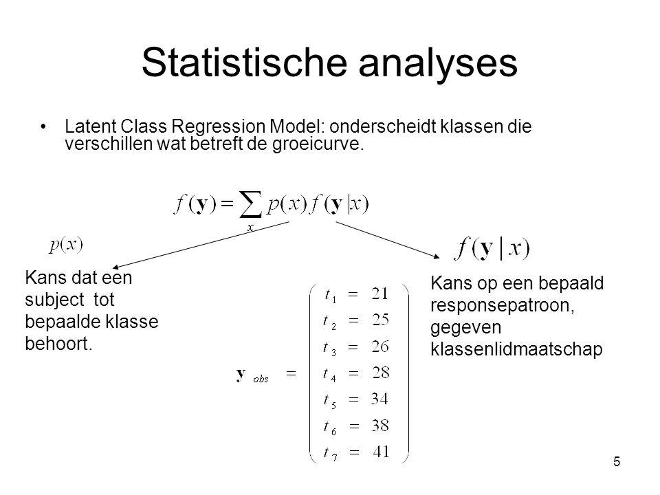 5 Statistische analyses Latent Class Regression Model: onderscheidt klassen die verschillen wat betreft de groeicurve.