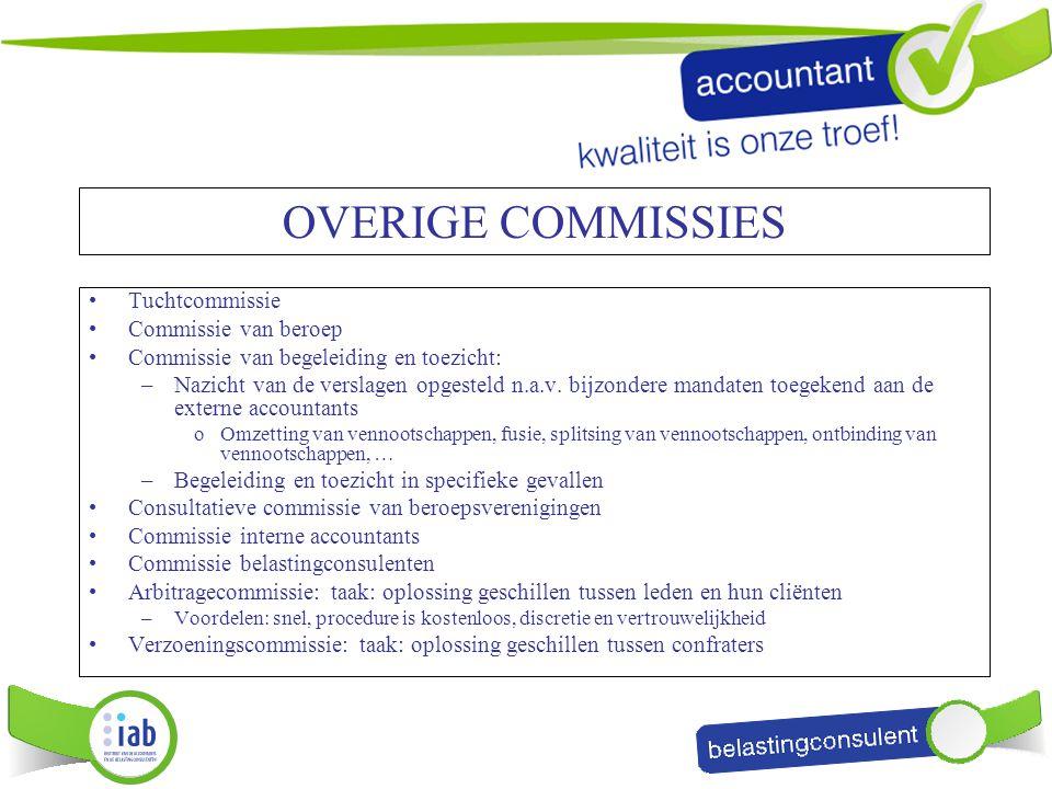 OVERIGE COMMISSIES Tuchtcommissie Commissie van beroep Commissie van begeleiding en toezicht: –Nazicht van de verslagen opgesteld n.a.v. bijzondere ma