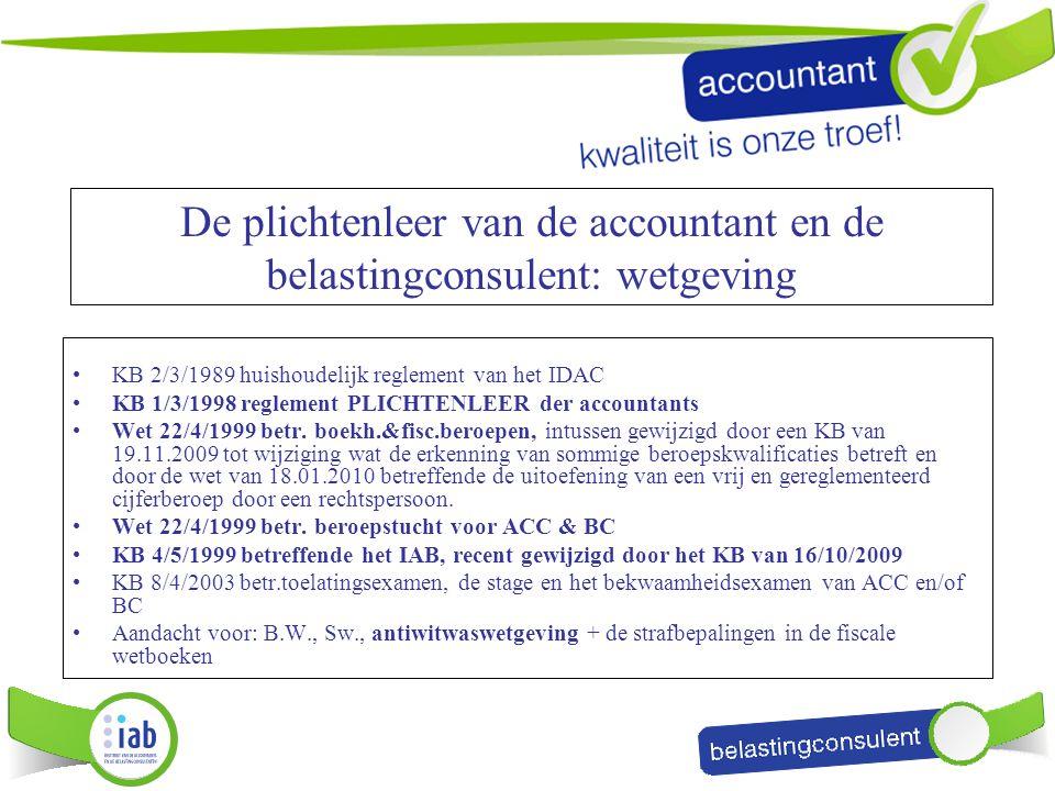 De plichtenleer van de accountant en de belastingconsulent: wetgeving KB 2/3/1989 huishoudelijk reglement van het IDAC KB 1/3/1998 reglement PLICHTENL