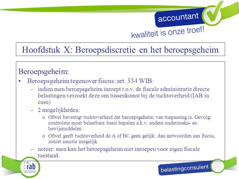 Beroepsgeheim: Beroepsgeheim tegenover fiscus: art. 334 WIB: –indien men beroepsgeheim inroept t.o.v. de fiscale administratie directe belastingen ver