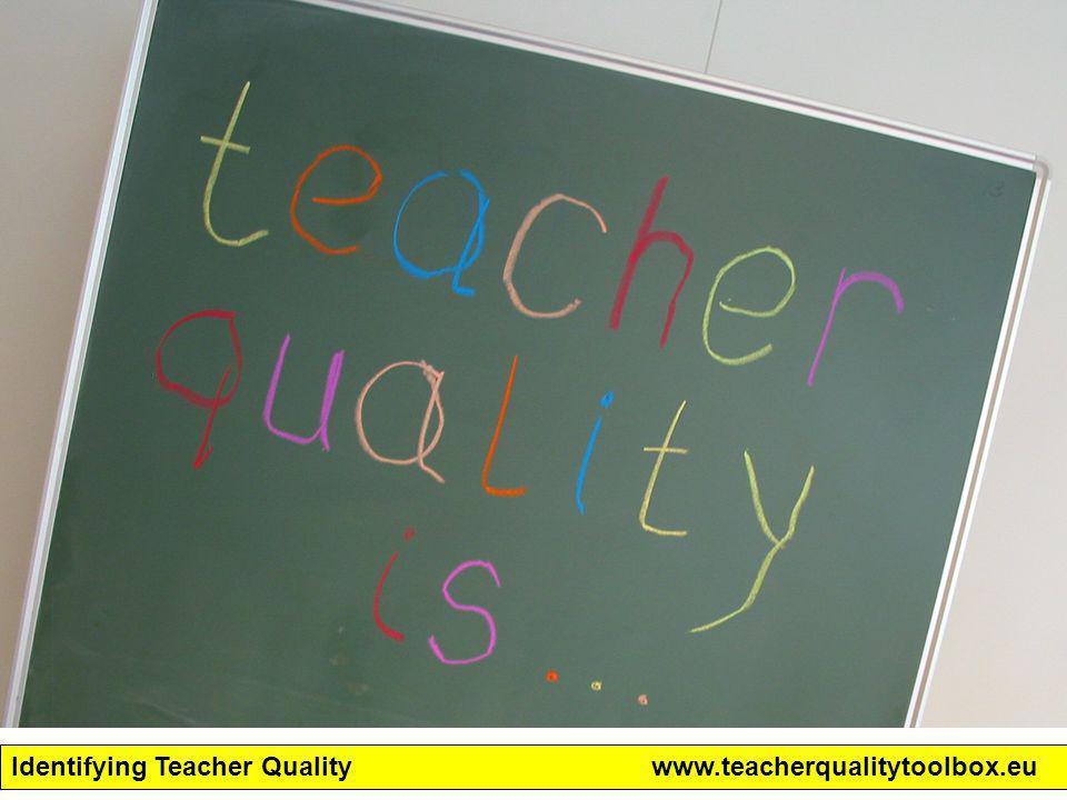 Identifying Teacher Qualitywww.teacherqualitytoolbox.eu Toolbox pilots –12 landen –24 instituten –± 30 personen Student teacher: 297 Teacher: 155 Teacher educator: 76 School leader: 3 Policy maker: 5 Totaal: 536