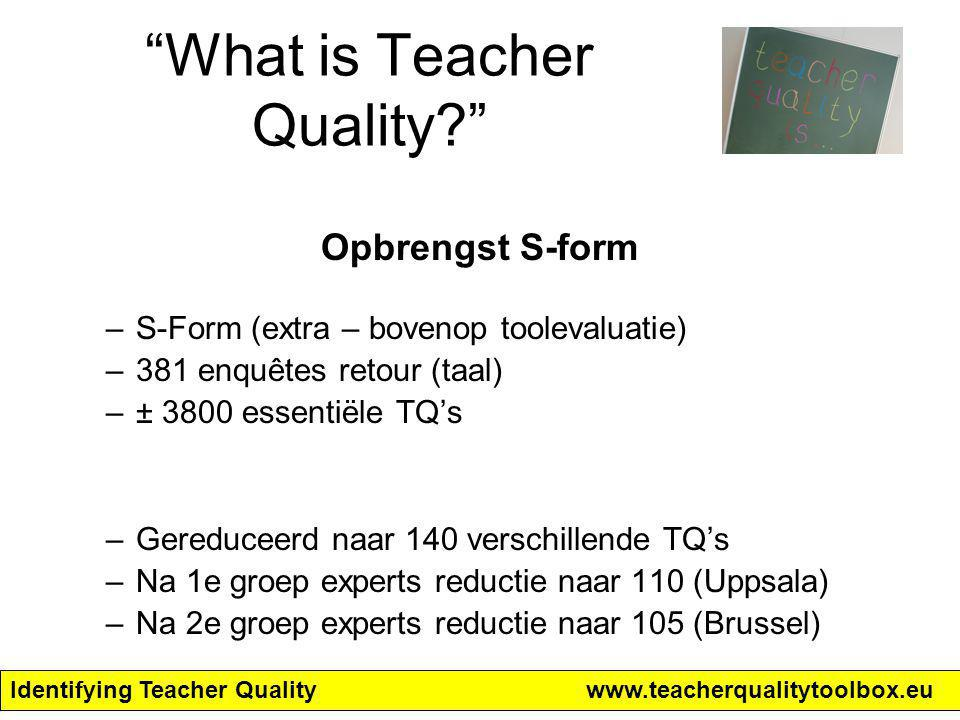 "Identifying Teacher Qualitywww.teacherqualitytoolbox.eu ""What is Teacher Quality?"" Opbrengst S-form –S-Form (extra – bovenop toolevaluatie) –381 enquê"