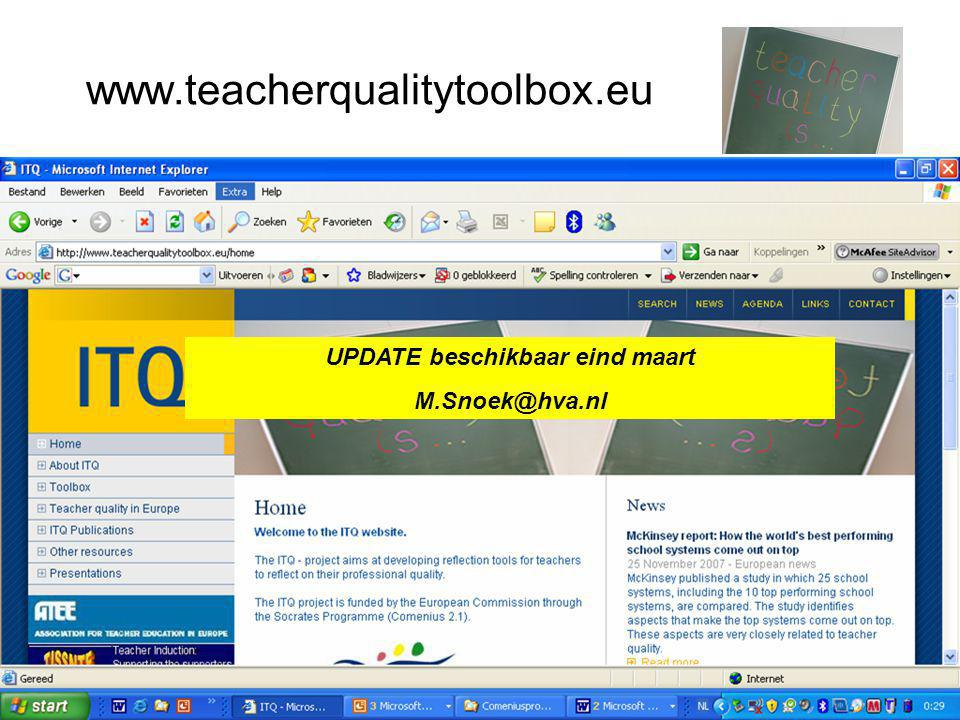 www.teacherqualitytoolbox.eu UPDATE beschikbaar eind maart M.Snoek@hva.nl