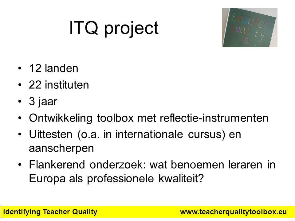 Identifying Teacher Qualitywww.teacherqualitytoolbox.eu 4 doelen Empower teachers to participate in national or regional debates on teacher quality; Stimulate reflection on different aspects of teacher quality; Stimulate collaborative learning of teachers both with respect to individual professional development and with respect to school development processes, leading to a shared language; Stimulate sensitivity to and mutual understanding of concerns of other stakeholders.
