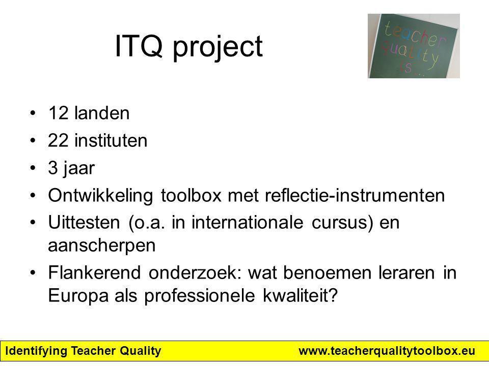 Identifying Teacher Qualitywww.teacherqualitytoolbox.eu Opbrengst van dit onderzoek Een beschrijving van lerarenkwaliteit gepercipieerd door leraren (in opleiding) internationaal (deel I); Een artikel voor het Europese Comenius Project ITQ over het internationaal vergelijkend onderzoek naar lerarenkwaliteit.