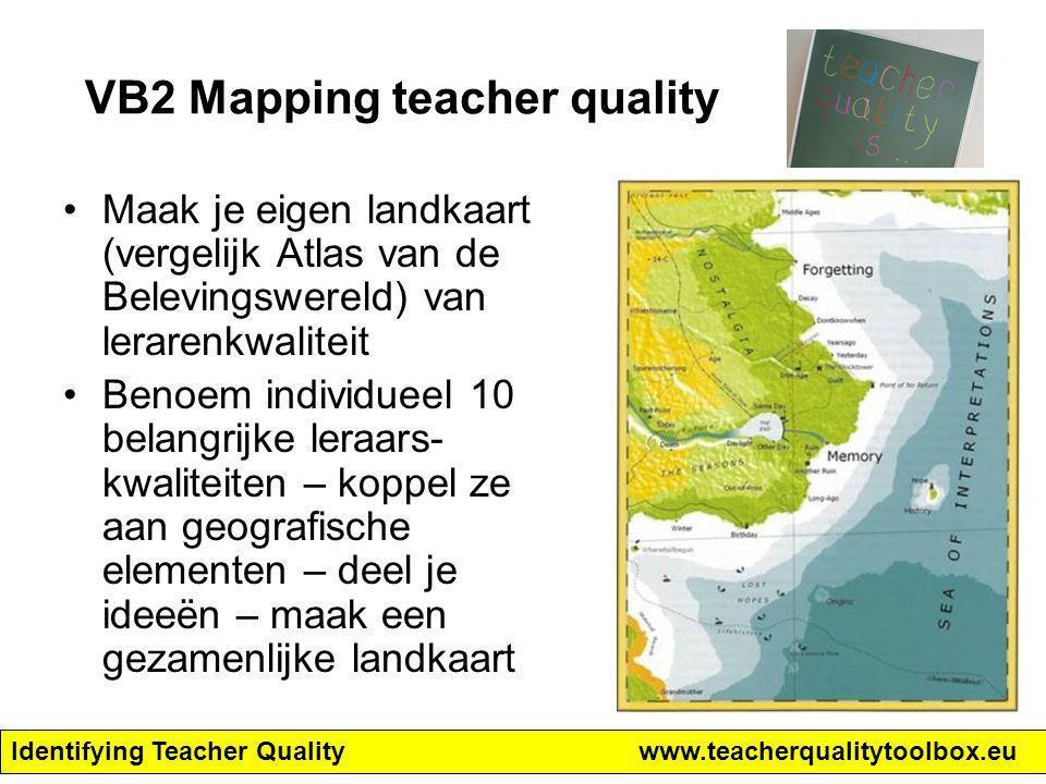 Identifying Teacher Qualitywww.teacherqualitytoolbox.eu VB2 Mapping teacher quality Maak je eigen landkaart (vergelijk Atlas van de Belevingswereld) v