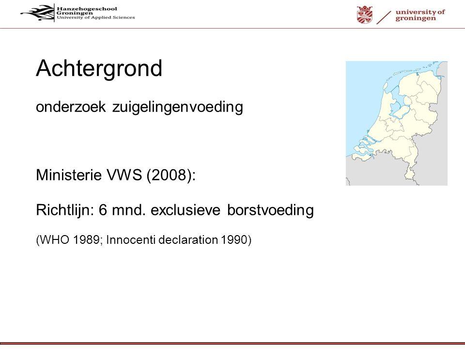 12-7- 12 Borstvoeding in Nederland (TNO, 2007) 81% start borstvoeding; 1 mnd. postpart. 48%