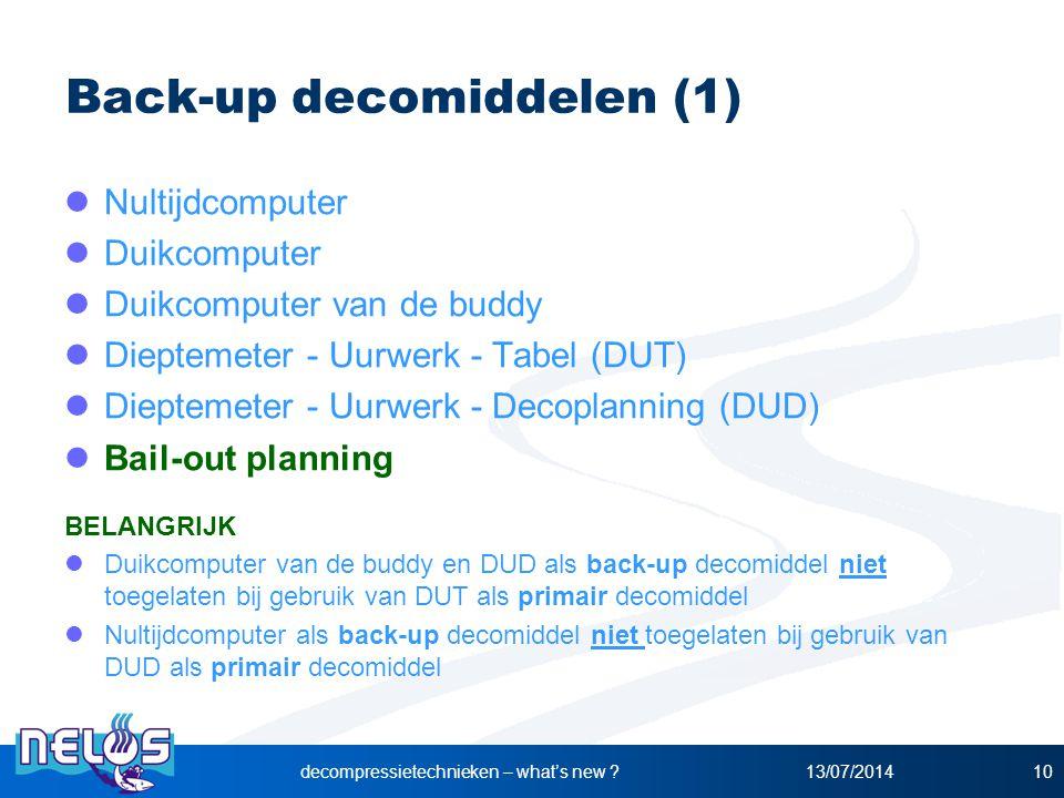 13/07/2014decompressietechnieken – what's new ?10 Back-up decomiddelen (1) Nultijdcomputer Duikcomputer Duikcomputer van de buddy Dieptemeter - Uurwer