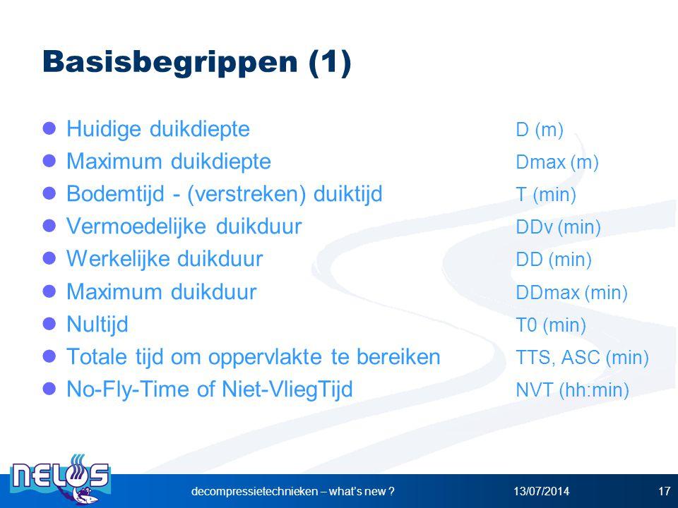 13/07/2014decompressietechnieken – what's new ?17 Basisbegrippen (1) Huidige duikdiepte D (m) Maximum duikdiepte Dmax (m) Bodemtijd - (verstreken) dui