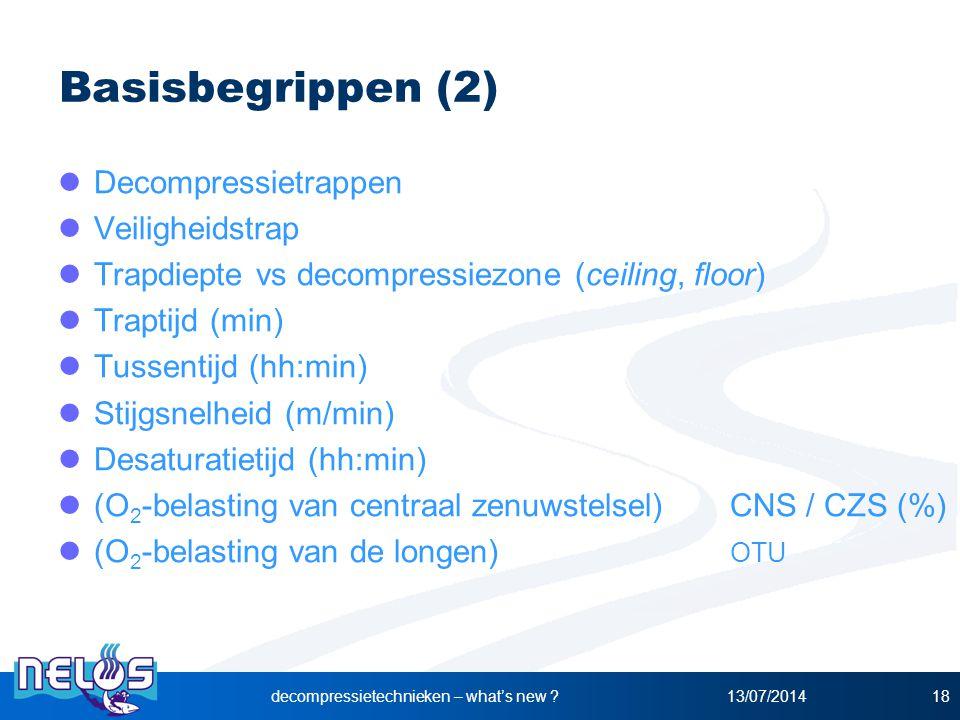 13/07/2014decompressietechnieken – what's new ?18 Basisbegrippen (2) Decompressietrappen Veiligheidstrap Trapdiepte vs decompressiezone (ceiling, floo
