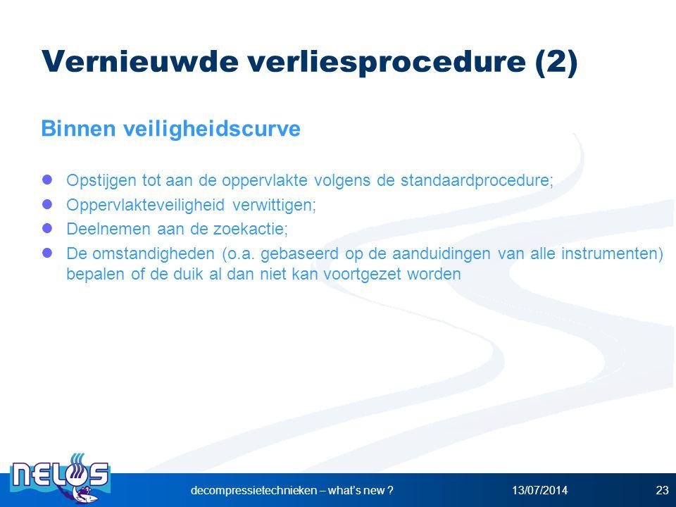 13/07/2014decompressietechnieken – what's new ?23 Vernieuwde verliesprocedure (2) Binnen veiligheidscurve Opstijgen tot aan de oppervlakte volgens de