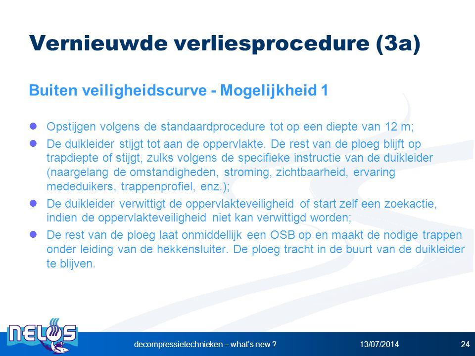 13/07/2014decompressietechnieken – what's new ?24 Vernieuwde verliesprocedure (3a) Buiten veiligheidscurve - Mogelijkheid 1 Opstijgen volgens de stand