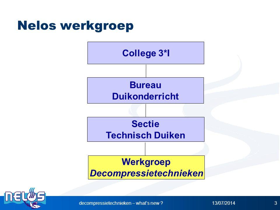 13/07/2014decompressietechnieken – what's new ?3 Nelos werkgroep Werkgroep Decompressietechnieken Bureau Duikonderricht Sectie Technisch Duiken Colleg