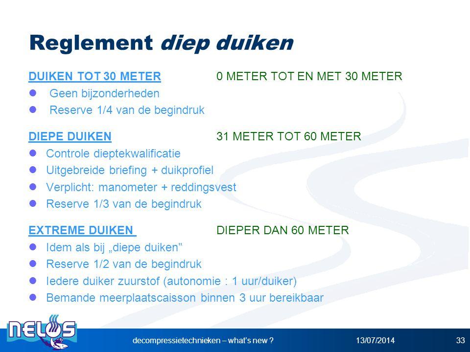 13/07/2014decompressietechnieken – what's new ?33 Reglement diep duiken DUIKEN TOT 30 METER 0 METER TOT EN MET 30 METER Geen bijzonderheden Reserve 1/