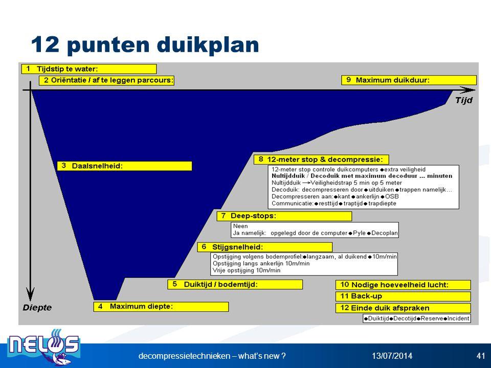 12 punten duikplan 13/07/2014decompressietechnieken – what's new ?41