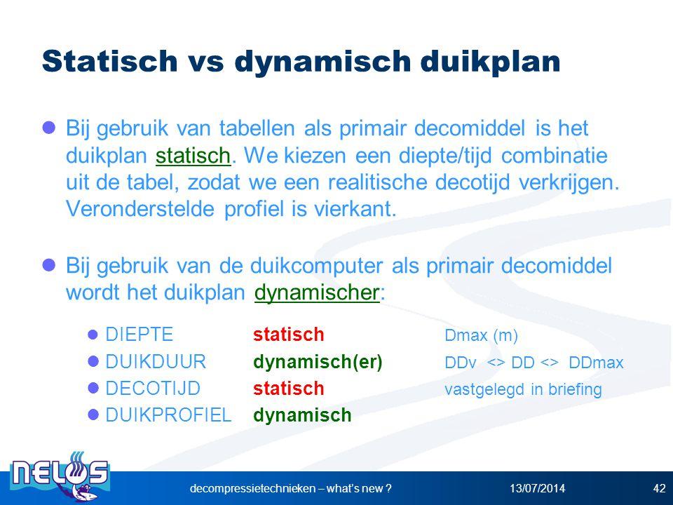 Statisch vs dynamisch duikplan Bij gebruik van tabellen als primair decomiddel is het duikplan statisch. We kiezen een diepte/tijd combinatie uit de t