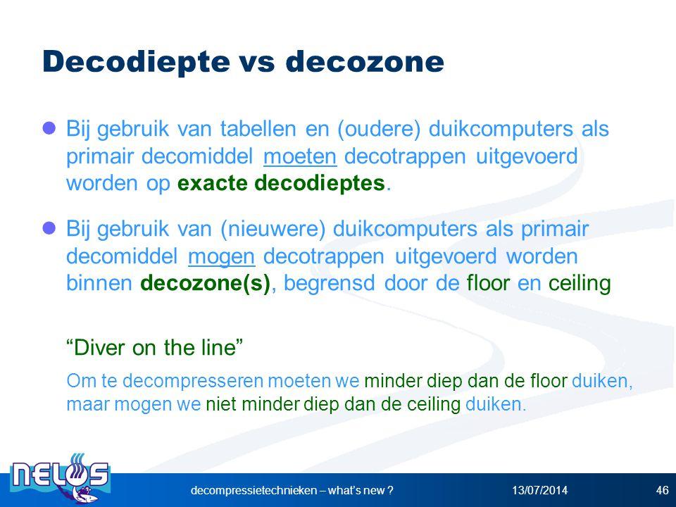 Decodiepte vs decozone Bij gebruik van tabellen en (oudere) duikcomputers als primair decomiddel moeten decotrappen uitgevoerd worden op exacte decodi